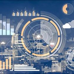 Data and graphs overlaid on a city skyline