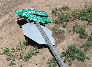Knocked Down Stop Sign
