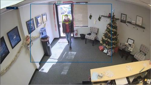 Screen capture of camera detecting customer wearing a mask.