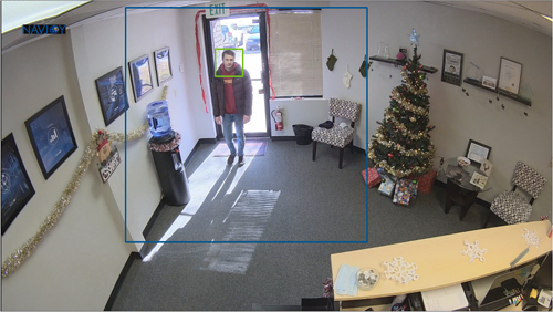 Screen capture of camera detecting customer with no mask.